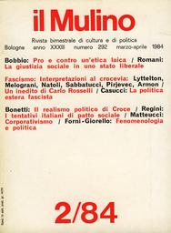 Copertina del fascicolo dell'articolo Il realismo politico di Croce