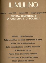 Copertina del fascicolo dell'articolo Per un'analisi della realtà sociale di Roma